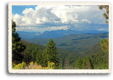 Wheeler Peak, New Mexico's highest point, as seen through the Carson National Forest, Enchanted Circle, Northern New Mexico